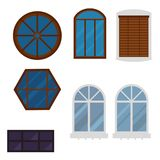 Olika beståndsdelar för typhusfönster sänker glass ramar för stil royaltyfri illustrationer