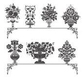 olika blommavases stock illustrationer