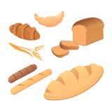 Olika bröd och illustrationer för bageriproduktvektor Bullar för frukostuppsättning bakar isolerade mat och rostat bröd stock illustrationer