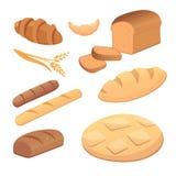 Olika bröd och illustrationer för bageriproduktvektor Bullar för frukostuppsättning bakar isolerade mat och rostat bröd royaltyfri illustrationer