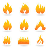 olika brandflammasymboler Arkivbild