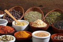 Olika bunkar av kryddor royaltyfri bild