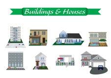Olika byggnader och inhyst Vektor Illustrationer