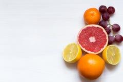 Olika citrusfrukter på vit bakgrund, bästa sikt, kopieringsutrymme royaltyfria bilder