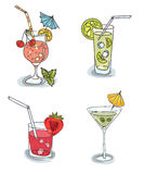 Olika coctailar med frukt vektor illustrationer