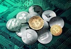 Olika cryptocurrencies i en cirkel med en guld- bitcoin royaltyfri illustrationer