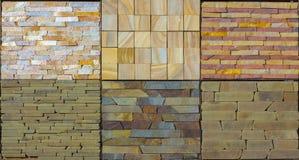 Olika dekorativa tegelplattor och naturliga stenprövkopior Fotografering för Bildbyråer