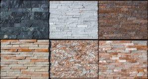 Olika dekorativa tegelplattor och naturliga stenprövkopior Arkivbilder