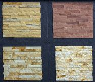 Olika dekorativa tegelplattor och naturliga stenprövkopior Royaltyfria Bilder
