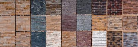 Olika dekorativa tegelplattor och naturliga stenprövkopior Royaltyfri Fotografi