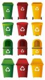 Olika designer av trashcans i tre färger Royaltyfria Bilder