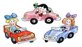 Olika dockor som kör leksakbilar Arkivfoto