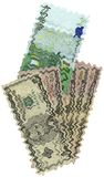 olika dollar euros isolerade undervattens- Arkivfoto