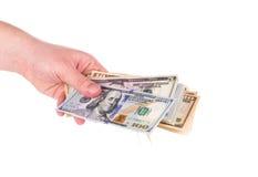 Olika dollarräkningar i hand Royaltyfri Foto