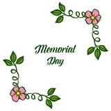 Olika eleganta rosa blom- ramar f?r vektorillustration f?r att skriva minnesdagen vektor illustrationer