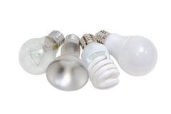 Olika elektriska lampor av olika typer av elektrisk belysning Arkivbild