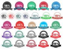 27 olika emblem för färgpengar-baksida garanti stock illustrationer
