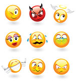 olika emoticons stock illustrationer