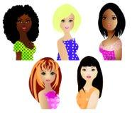 olika etnicitetkvinnor Arkivfoton