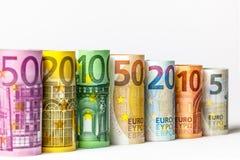 Olika eurosedlar från 5 till euro 500 Royaltyfria Foton