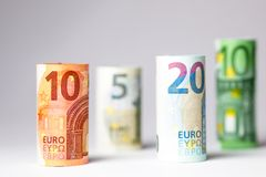 Olika eurosedlar från 5 till euro 500 Royaltyfri Fotografi