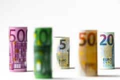 Olika eurosedlar från 5 till euro 500 Arkivbild