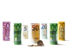Olika eurosedlar från 5 till euro 500 Royaltyfri Foto