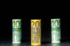Olika eurosedlar från 5 till euro 500 Arkivfoto