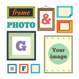 Olika färgrika fotoramar Arkivbild