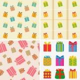 olika färgrika gåvor royaltyfri illustrationer