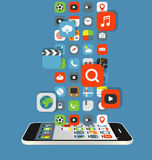 Olika färgsymboler flödar till en modern smartphone Royaltyfri Foto