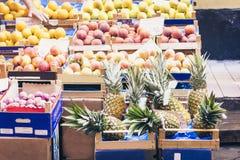Olika f?rgrika nya frukter i fruktmarknaden, Catania, Sicilien, Italien royaltyfria foton