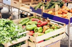 Olika f?rgrika nya gr?nsaker i fruktmarknaden, Catania, Sicilien, Italien royaltyfri foto