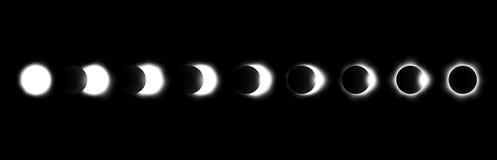 Olika faser av sol- och månförmörkelsen vektor Royaltyfri Foto
