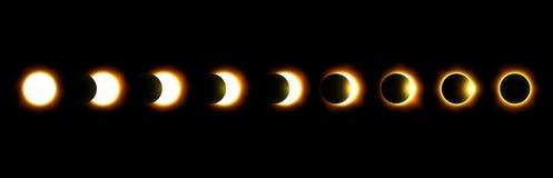 Olika faser av sol- och månförmörkelsen vektor Royaltyfria Foton