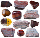 Olika ferruginous stenar för kvartsit (jaspillite) Arkivbild