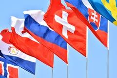 olika flaggor för länder Arkivbilder