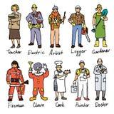Olika folkteckningar stock illustrationer