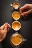 Olika format av koppar kaffe Fotografering för Bildbyråer