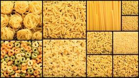 Olika former av rå pastacollage Fotografering för Bildbyråer