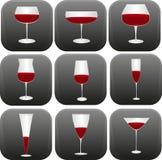 Olika former av vinexponeringsglas Royaltyfria Foton