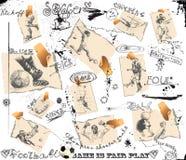 olika fotbollsspelarekort Arkivbilder