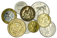 Olika franska mynt arkivbilder