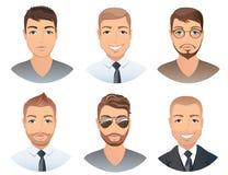 Olika frisyrer för män stock illustrationer