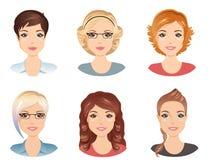 Olika frisyrer, kvinnlig vektor illustrationer