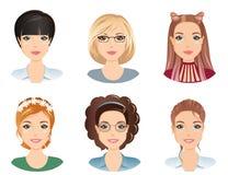 Olika frisyrer, kvinnlig royaltyfri illustrationer