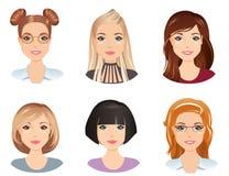 Olika frisyrer, kvinnlig, för flickan, ung vuxen människa, kvinna, uppsättning 5 stock illustrationer