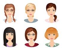 Olika frisyrer, kvinnlig, för flickan, ung vuxen människa, kvinna, uppsättning 4 royaltyfri illustrationer
