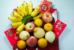 Olika frukter i kinesiskt nytt år Fotografering för Bildbyråer