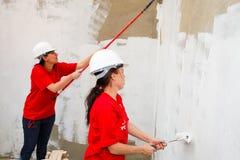 Olika gemenskapmedlemmar som bygger ett low costhus i Soweto Royaltyfri Foto
